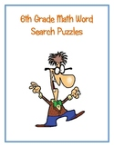 6th Grade Math Vocabulary Word Search Puzzles
