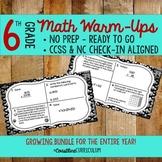 6th Grade ENTIRE YEAR  Math Warm Ups