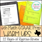 6th Grade Math Warm Ups - STAAR Review & Prep