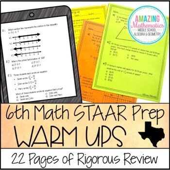 6th Grade Math Warm Ups - STAAR Prep