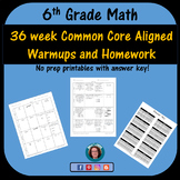 6th Grade Math Weekly Warmups and Homework