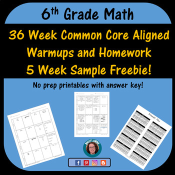 6th Grade Math Weekly Warmups and Homework Sample