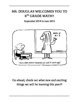 6th Grade Math Welcome Packet
