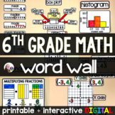 6th Grade Math Word Wall w/ virtual option