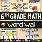6th Grade Math Word Wall - print and digital