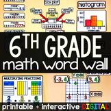 6th Grade Math Word Wall - print and digital