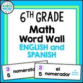 6th Grade Math Word Wall Cards - ENGLISH AND SPANISH