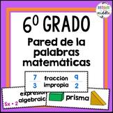 6th Grade Math Word Wall in SPANISH!