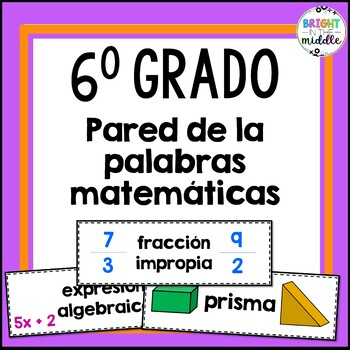 6th Grade Math Word Wall: IN SPANISH! 104 Words!