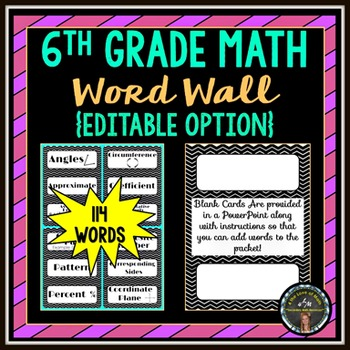 6th Grade Math Word Wall Strips (114 in all!)