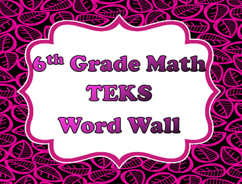 6th Grade Math Word Wall Vocabulary Cards