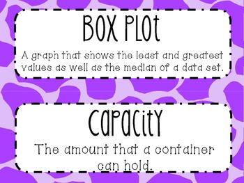6th Grade Math Word Wall Vocabulary Cards **Neon Giraffe Print**