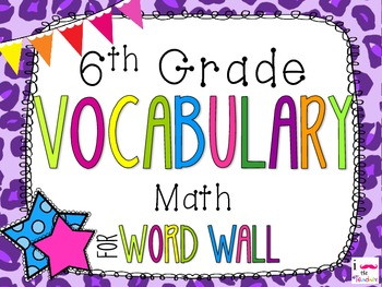 6th Grade Math Word Wall Vocabulary Cards **Neon LeopardPrint**