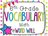 6th Grade Math Word Wall Vocabulary Cards **Neon Stars**