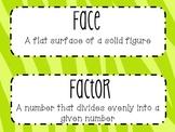 6th Grade Math Word Wall Vocabulary Cards **Neon Zebra Print**