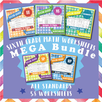 6th Grade Math Worksheets MEGA Bundle {Common-Core Aligned}