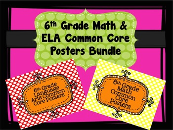 6th Grade Math and ELA Common Core Standards Poster Bundle