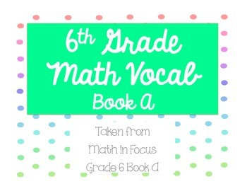 6th Grade Math in Focus Vocabulary Cards Book A