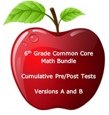 6th Grade Math:Common Core Cumulative Pre and Post Tests: