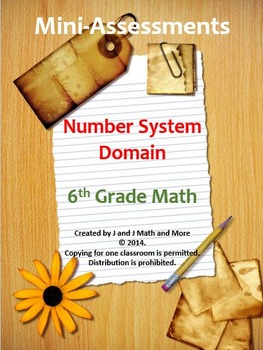 6th Grade Math:Mini-Assessments for all Domains--BUNDLED