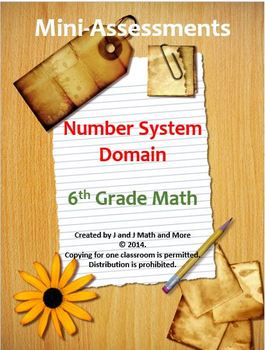 6th Grade Math:Mini-Assessments for the Number System Doma
