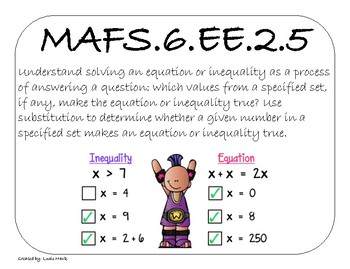 6th Grade Mathematics Florida State Standards and Common Core Standards