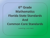 6th Grade Mathematics Florida State Standards and Common C