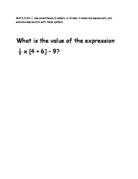 6th Grade Mathematics Test Item Spec Questions