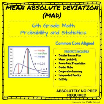 6th Grade Probability and Statistics  - Mean Absolute Deviation of a Data Set