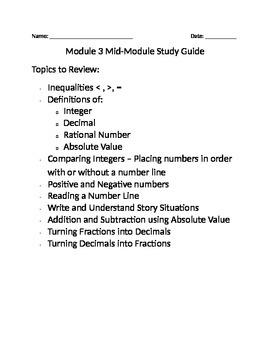 6th Grade Mid-Module 3 Study Guide