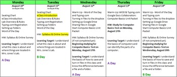6th Grade Middle School Business and Computer Science Semester Plan and Projects
