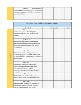 6th Grade Missouri Learning Standard Tracker