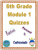 6th Grade Module 1 Quizzes for Topics A to D - Editable