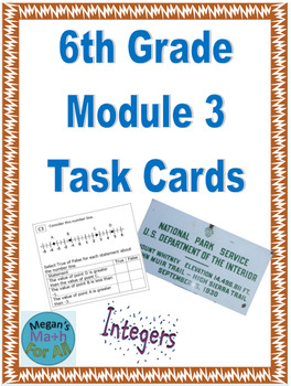 6th Grade Module 3 Task Cards - Integers - Editable - SBAC