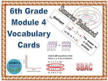 6th Grade Module 4 Vocabulary - Engage NY/Eureka Math - SBAC