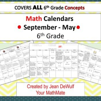 2017 -2018  6th Grade Monthly Calendars