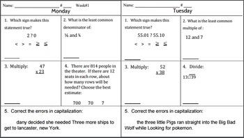 6th Grade Morning Math Work (and a little ELA, too!) Week #1