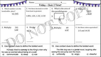6th Grade Morning Math Work (and a little ELA, too!) Week #2