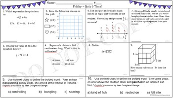 6th Grade Morning Math Work (and a little ELA, too!) Week #6