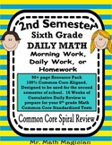 6th Grade Morning Work, Homework, Bell Ringer *FREE* Spiral Review COMMON CORE