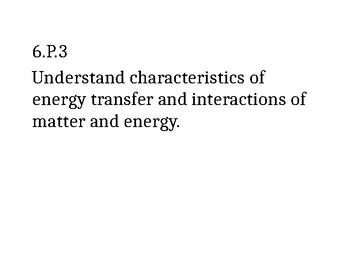 6th Grade NC Science Clarifying Objectives