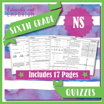 6th Grade NS Quizzes: The Number System, 6th Grade Math Assessments