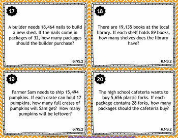 6th Grade NS Task Cards: The Number System, 6th Grade Math Task Cards
