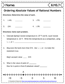 6th Grade NS Worksheets: The Number System, 6th Grade Math Worksheets