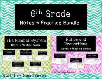 6th Grade Notes and Practice Resources Bundle