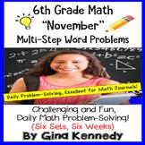 6th Grade November Daily Problem Solving: Math Challenge Problems (Multi-Step)