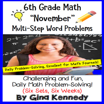 6th Grade November Daily Problem Solving: Math Challenge Problems (Multi-Step)