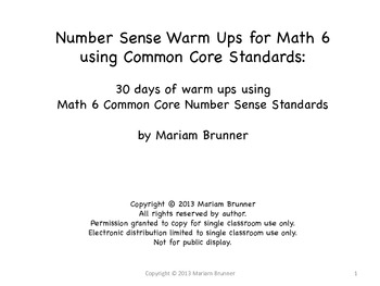 6th Grade Number Sense 30 Days of Warm Ups: Common Core 6th Grade Standards