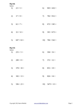6th Grade Number Sense and Variable Expressions Practice A