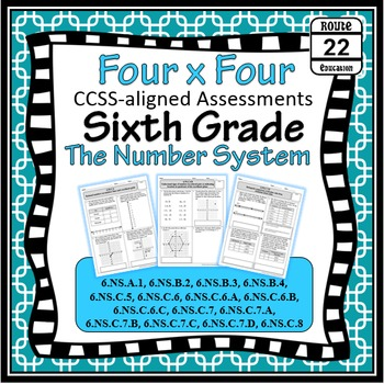 6th Grade Math Common Core Number System Assessments